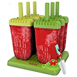 Lebice Popsicle Molds Set - Bpa Free - 6 Ice Pop Makers, Silicone Funnel, Cleaning Brush, Ice Cream Recipes E-book
