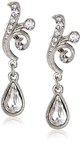 """1928 Jewelry """"Crystal"""" Scroll Teardrop Earrings"""