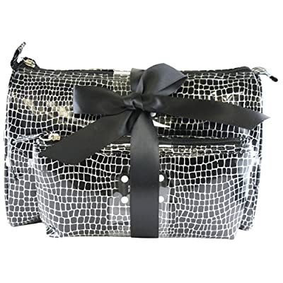 Best Cheap Deal for Kenneth Cole Reaction 2-Piece Croc Print Cosmetic Bag Set - Black from Kenneth Cole - Free 2 Day Shipping Available