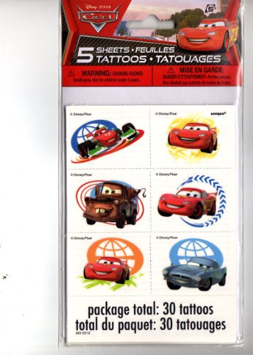 Disney Pixar Cars Party Tattoos 5 Sheets/30 tattoos