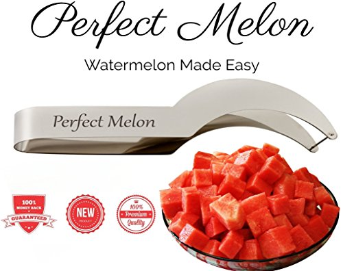 Watermelon Slicer Corer and Server by Perfect Melon, Kid-friendly Watermelon Knife *Life Time Warranty* Hypoallergenic Easy Clean Dishwasher Safe Stainless Steel Watermelon Cutter