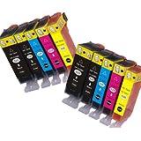 N.T.T.® - 10 STÜCK (2 x SETS) XL Druckerpatronen Tintenpatronen Tinte für Canon PIXMA IP 4850 IP 4950 IX 6550 MG 5150 MG 5250 MG 5340 MG 5350 MG 6150 MG 6250 MG 8150 MG 5100 MG 5200 MG 5300 MG 6120 MG 8120 MG 8240 MG 8250 MX 885 MX 895 PGI-525BK / CLI-526C / CLI-526M / CLI-526Y und CLI-526BK 100% Qualität MIT CHIP ***SPARSET***