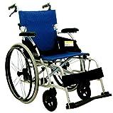 【即日出荷対応】軽量車椅子ノーパンク アルミ自走介助式 座幅40cm 青ストライプ色