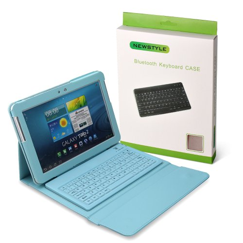 "Light Blue Wireless Bluetooth Keyboard Case For Samsung Galaxy Tab 2 10.1 Inch 10.1"" P5100 P5110 P5113 Tablet Pu Leather (Light Blue)"