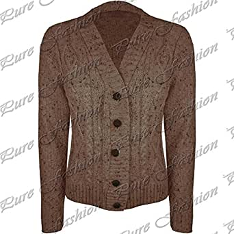 Be Jealous Long Sleeve Cable Knitted Grandad Button Womens Cardigan Sweater Top Mocha - Knitted Cardigan Full Sleeved Cable M/L (UK 12/14)