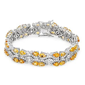 Genuine Morne Rouge (TM) Bracelet. 20.45 Ctw Citrine Sterling Silver Bracelet - Material/Stone: Citrine. 35.9 grams in weight and 7.5 inches in length. 100% Satisfaction Guaranteed.