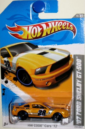 2012HOT WHEELS '07 FORD SHELBY GT-500 - HWCODE CARS '12 - 6/22 - 231/247 - YELLOW WITH SILVER STRIPE