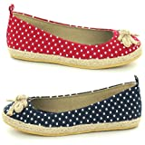 Womens Spotted Polka Dot Pattern Canvas Pumps Summer Beach Shoes