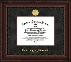 University of Wisconsin Badgers - Gold Medallion - Suede Mat - Mahogany - Diploma... by Laminated Visuals