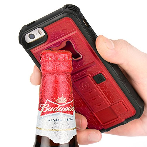 iPhone 5s Case, ZVE® Apple iPhone SE/5S/5 Case Built-in Cigarette Lighter/Bottle Opener/[Heavy Duty] (Red) (5s Bottle Opener compare prices)