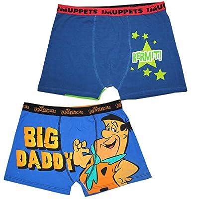 (Pack of 2) Mens MUPPETS(KERMIT THE FROG) & THE FLINTSTONES Boxer Shorts
