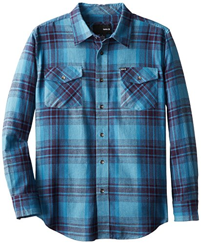 Hurley Big Boys' Saxon Long Sleeve, Rift Blue, Large front-872041