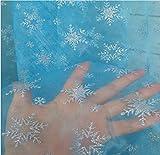 acquasea 透き通る美しさ ブルー 布地 雪の結晶模様 オーガンジー ファブリック 約180cm×150cm