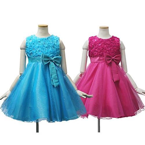 子供ドレス 発表会 d-0038 胸元のお花がエレガントなストレスフリードレス ピンク ブルー (130cm 肩幅27cm 胸囲66cm 身丈26cm 総丈70cm, ブルー)