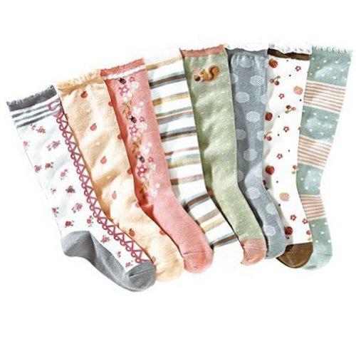 Deer Mum Girls Colorful Multiple Pattern Knee High Princess Socks(8 Pairs) front-889376