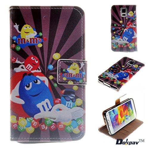 Dokpav® Custodia per cellulare di cuoio, modello Samsung Galaxy S5 mini, custodia per cellulare di cuoio PU, modello Samsung Galaxy S5 mini sottile, richiudibile con nasto incassato (Candy Superman)
