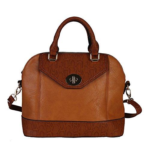 Diophy Womens Fashion Two Tone Animal Printed Texture Zipper Closure Tote Bag Handbag JQ-2222 (Brown)