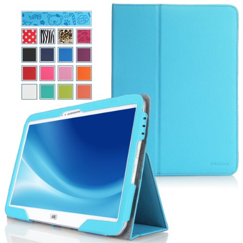 Moko Samsung Ativ Tab 3 Xe300T Case - Slim Folding Cover Case For Samsung Ativ Tab 3 300T 300Tzc Xe300T Xe300Tzc 10.1 Inch Windows 8 Tablet, Light Blue (With Smart Cover Auto Wake / Sleep Feature)