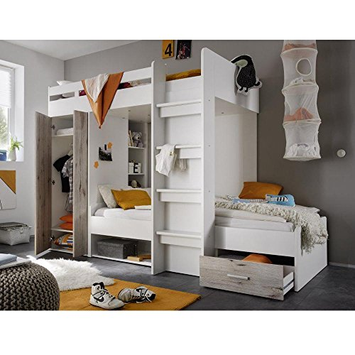 cravog hochbett etagenbett bettkinderzimmer jugendzimmer weiss sandeiche 2 x 90x200 cm. Black Bedroom Furniture Sets. Home Design Ideas