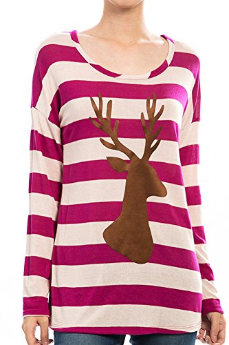 Holiday-Chic Striped Reindeer Button Back