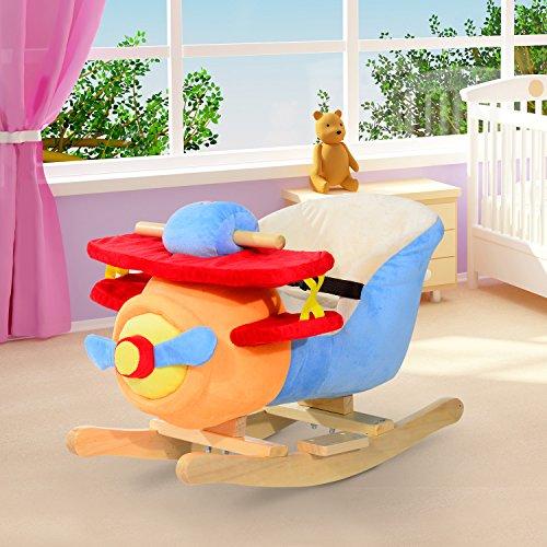 Avion à bascule pour enfant musical avec ceinture de sécurité court peluche+peuplier multicolore neuf 22