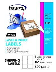 LTB MFG Laser Inkjet Printer Shipping Labels, 600 Labels, 100 Sheets, 6 Labels Per Sheet,Shipping labels for USPS UPS FedEx eBay Amazon Paypal Endicia Stamps (6 Per Sheet 4\