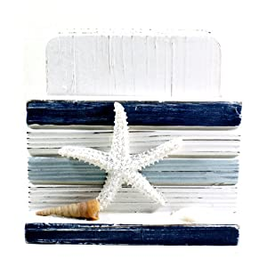 Blue Stripes Coasters and Holder Wooden Handmade Nautical Decor