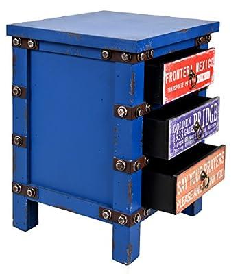 ts-ideen Kommode Schrank Nachttisch Container Industrie Design Shabby Blau Optik Vintage