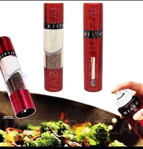 Misto The Gourmet Stainless Steel Olive Oil Sprayer With Peppercorn & Sea Salt Grinder (Bordo Steel)