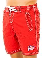 Superdry Short de Baño (Rojo)