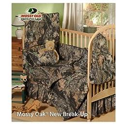 Mossy Oak New Break Up Camo - 4 Piece Crib Set includes (Crib Fitted Sheet, Crib Bumper Pad, Crib Headboard Pad, and Crib Comforter)- Save Big By Bundling!