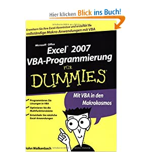 excel 2007 vba programmierung f r dummies john walkenbach frank geisler b cher. Black Bedroom Furniture Sets. Home Design Ideas