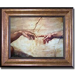 Creation of Adam (Detail) by Michelangelo Premium Bronze-Gold Framed Canvas (Ready-to-Hang)