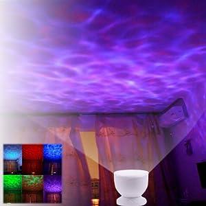 amzdeal® Luz nocturna LED, luces led, Lámpara nocturna, Lampara noche, bombillas bajo consumo, Ocean Relax Proyector,Lámpara nocturna, Lampara noche,Proyección de música con la lámpara USB + MP3 altavoz para bebe, luz infantil para niño niña, Alta