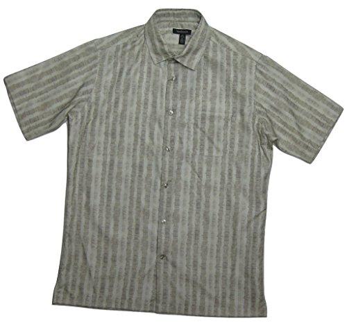 Van-Heusen-Mens-Casual-Button-Down-Dress-Shirt-Khaki-Silver-Birch-S