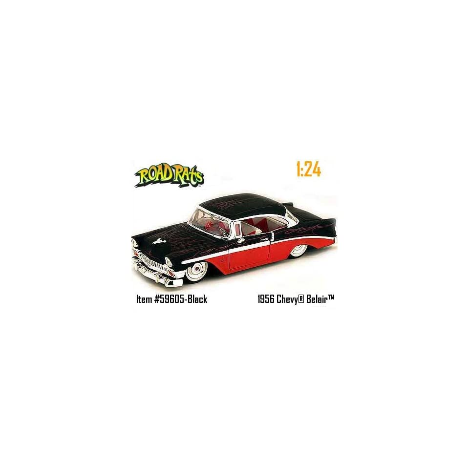 1956 Chevy Bel Air Diecast Model Car Road Rats 124 Black/Red
