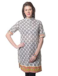 Meira Full Sleeve Chinese Collar Beige Cotton Kurti For Women