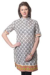 Meira Full Sleeve Chinese Collar Beige Cotton Kurti for Women (Large)