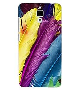 ColourCraft Colourful Feathers Design Back Case Cover for XIAOMI MI 4