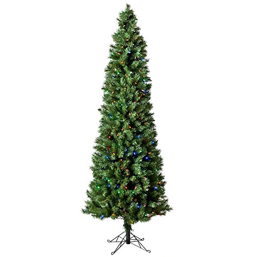 Christmas Tree, 7 Foot Austrian Pine, Pencil Tree, Pre Lit, Changing Color Lights With Storage Bag