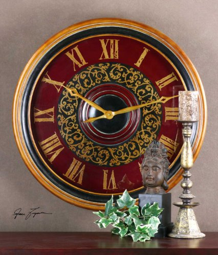 Classic Large Red Scrollwork Wall Clock Traditional