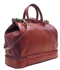 Floto Positano Gladstone Travel Bag in Saddle Brown Italian Calfskin Leather