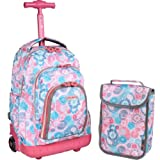 J World New York Lollipop Kids Rolling Backpack with Lunch Bag, Blue Raspberry, One Size