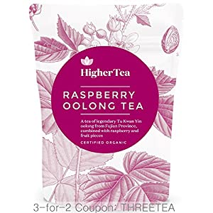 Raspberry Oolong Tea 3 oz, By Higher Tea (40 Cups) Certified Organic Premium Loose Leaf Tea from Higher-Tea