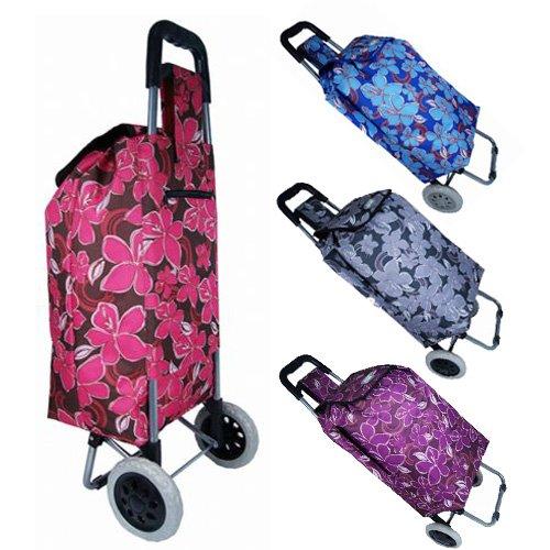 Womens Ladies Floral Wheeled Shopping Trolley Travel Storage Bag (Black/Blue/Pink/Purple) (Purple)