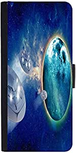 Snoogg Aliens Spacecrafts Graphic Snap On Hard Back Leather + Pc Flip Cover S...