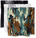 Levis Mens 3 Piece Bandana Set, Black/White/Camo, 20x20