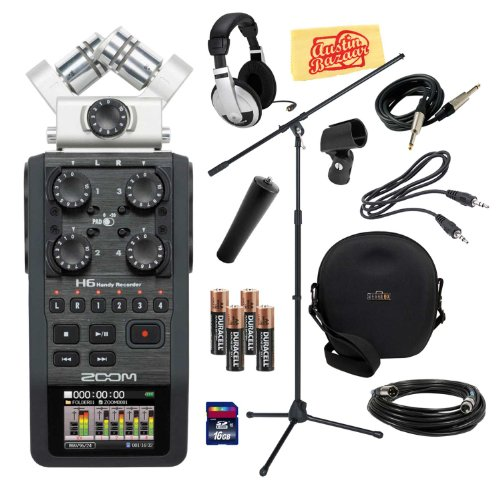 Zoom H6 Portable Handy Recorder Bundle With Mic Stand, Mic Stand Adapter, Mic Clip, Hard Case, Mic Cable, Instrument Cable, Headphones, 16Gb Sd Card, Aux Cable, Aa Batteries, And Polishing Cloth