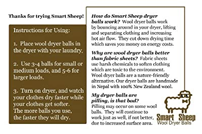 Smart Sheep 8-Pack 100% Premium Wool Dryer Balls (XL, Handmade, Eco-friendly, All-Natural Fabric Softener)