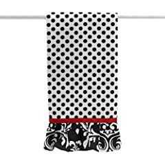 Black and White Polka Dot Tea Towel with Damask Ruffle and Red Ribbon Trim - 13